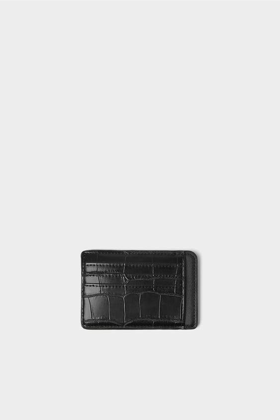 16a9f87a9d ANIMAL EMBOSSED BLACK CARD WALLET