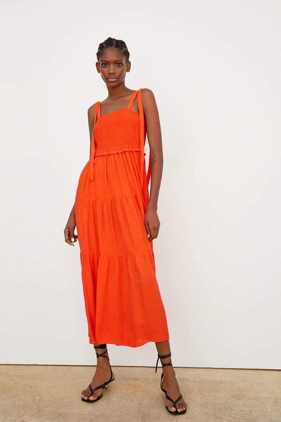 df31e1a0962 Image 1 of STRAPPY DRESS WITH RUFFLE TRIM from Zara