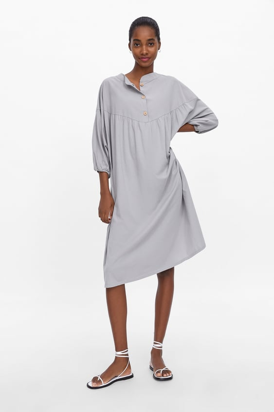 Buttoned Oversized Shirt Dress  View All Dresses Woman by Zara