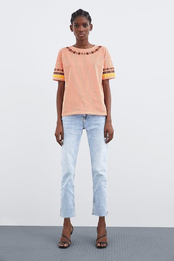 2f45073e STRIPED T - SHIRT WITH EMBROIDERED MOTIFS-View All-T-SHIRTS-TRF ...