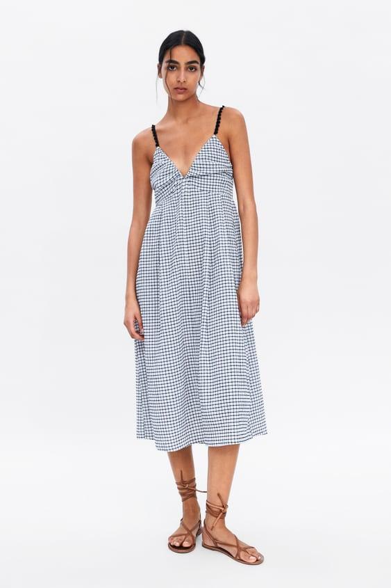 06027fe4cac STRAPPY CHECK DRESS - Midi-DRESSES-WOMAN
