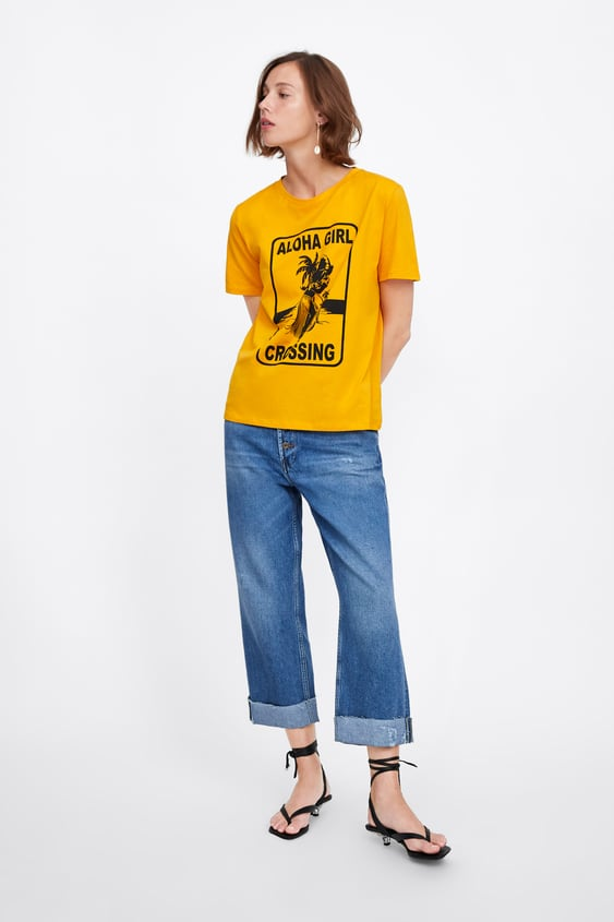 584d069ab T - SHIRT WITH FRONT PRINT-Graphics & Slogans-T-SHIRTS-WOMAN | ZARA ...