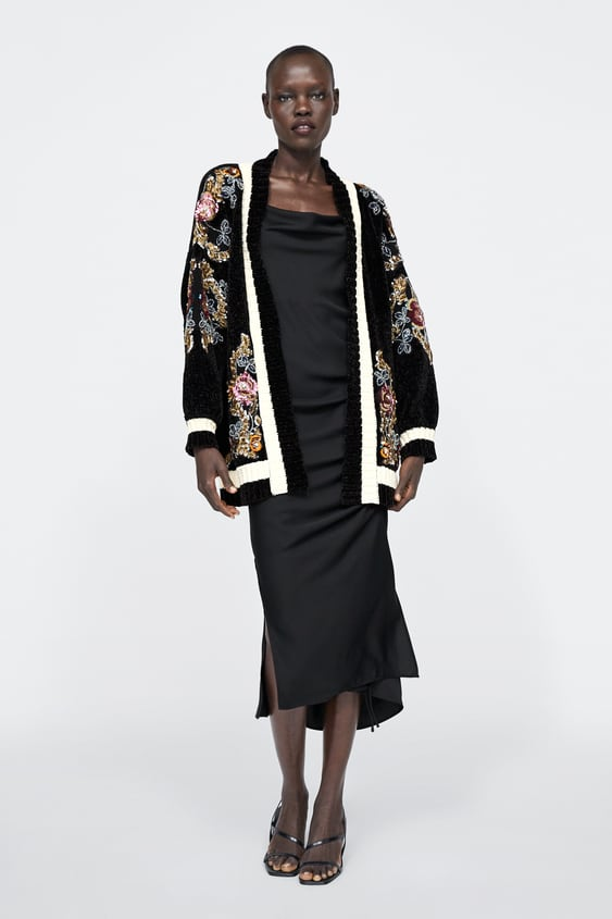 Embroidered Chenille Cardigan  Knitwearwoman by Zara