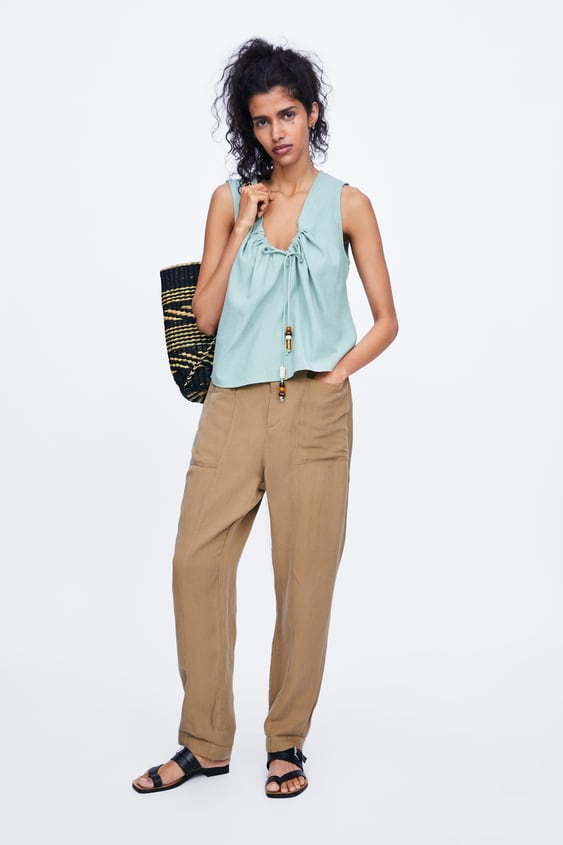 5550aa97 BEADED TIE BLOUSE - SHIRTS | BLOUSES-WOMAN | ZARA United States