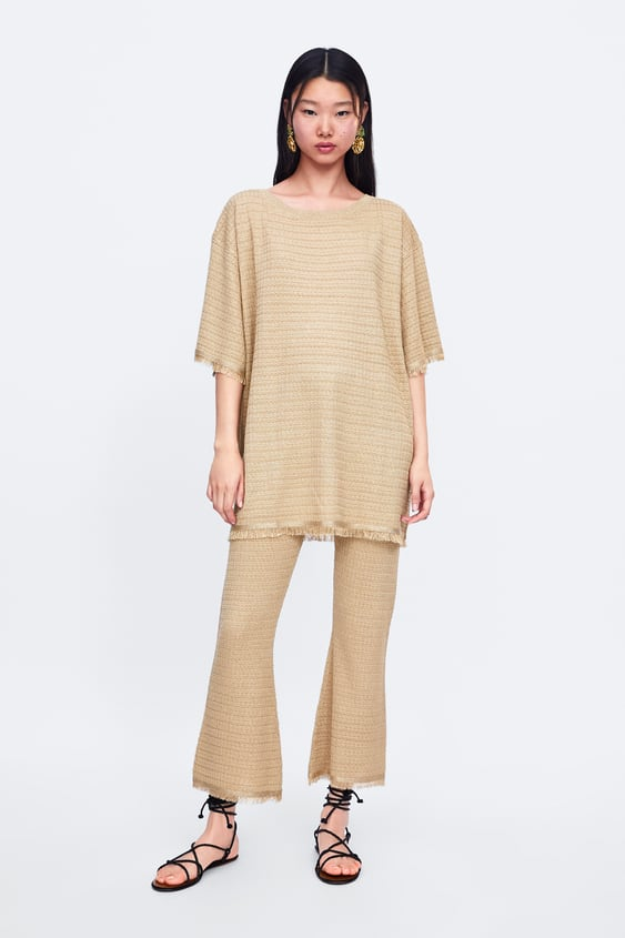 35c1ece0 Shoptagr | Fringed Knit Pants Pants Knitwear Woman by Zara