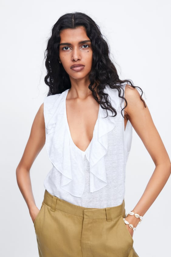 05f28057075e RUFFLED LINEN TOP - Item available in more colors