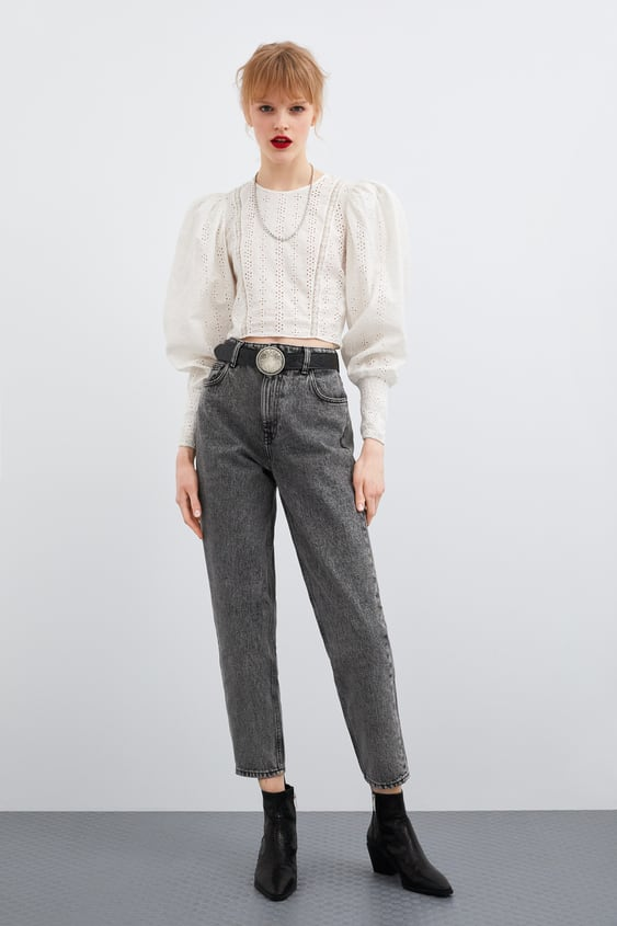 Contrasting Openwork Embroidery Top Topswoman by Zara