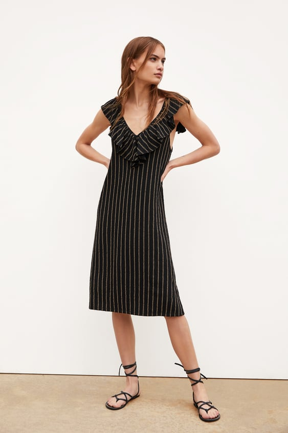 56c5a814 TEXTURED WEAVE DRESS WITH RUFFLE - Midi-DRESSES-TRF-SALE | ZARA ...