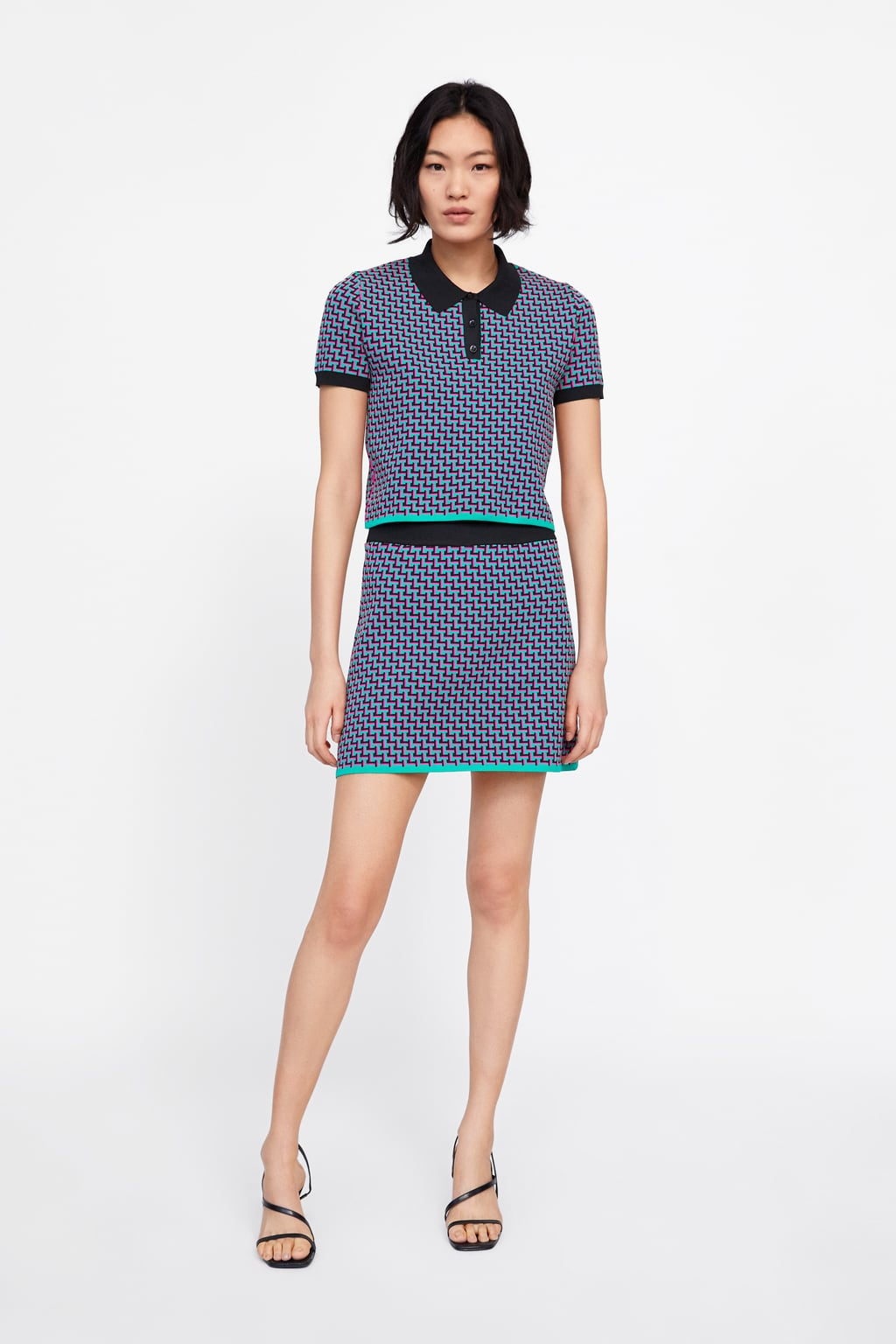Geometric Knit Jacquard Polo Sweater  New Inwoman New Collection by Zara