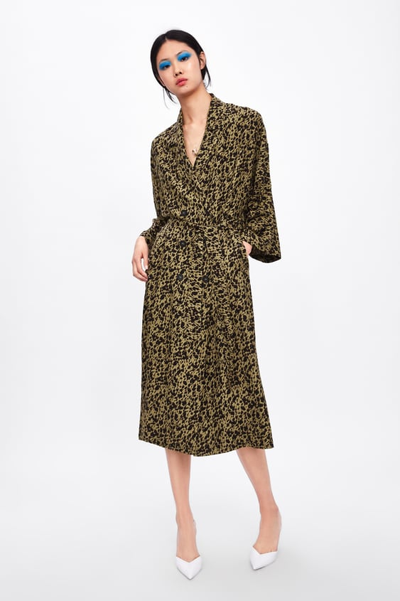 af4bbc89d8 FLOWING ANIMAL PRINT TRENCH COAT