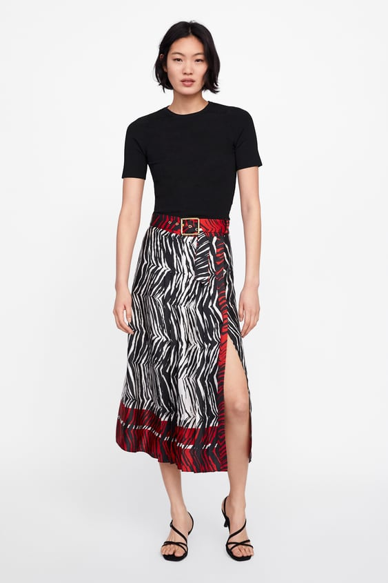 Animal Print Panel Pleated Skirt  New Inwoman New Collection by Zara