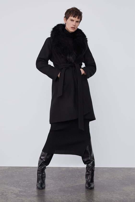7f1449d0 ZARA. COAT WITH FAUX FUR COLLAR COLLECTIONTIMELESS-WOMAN-CORNER SHOPS