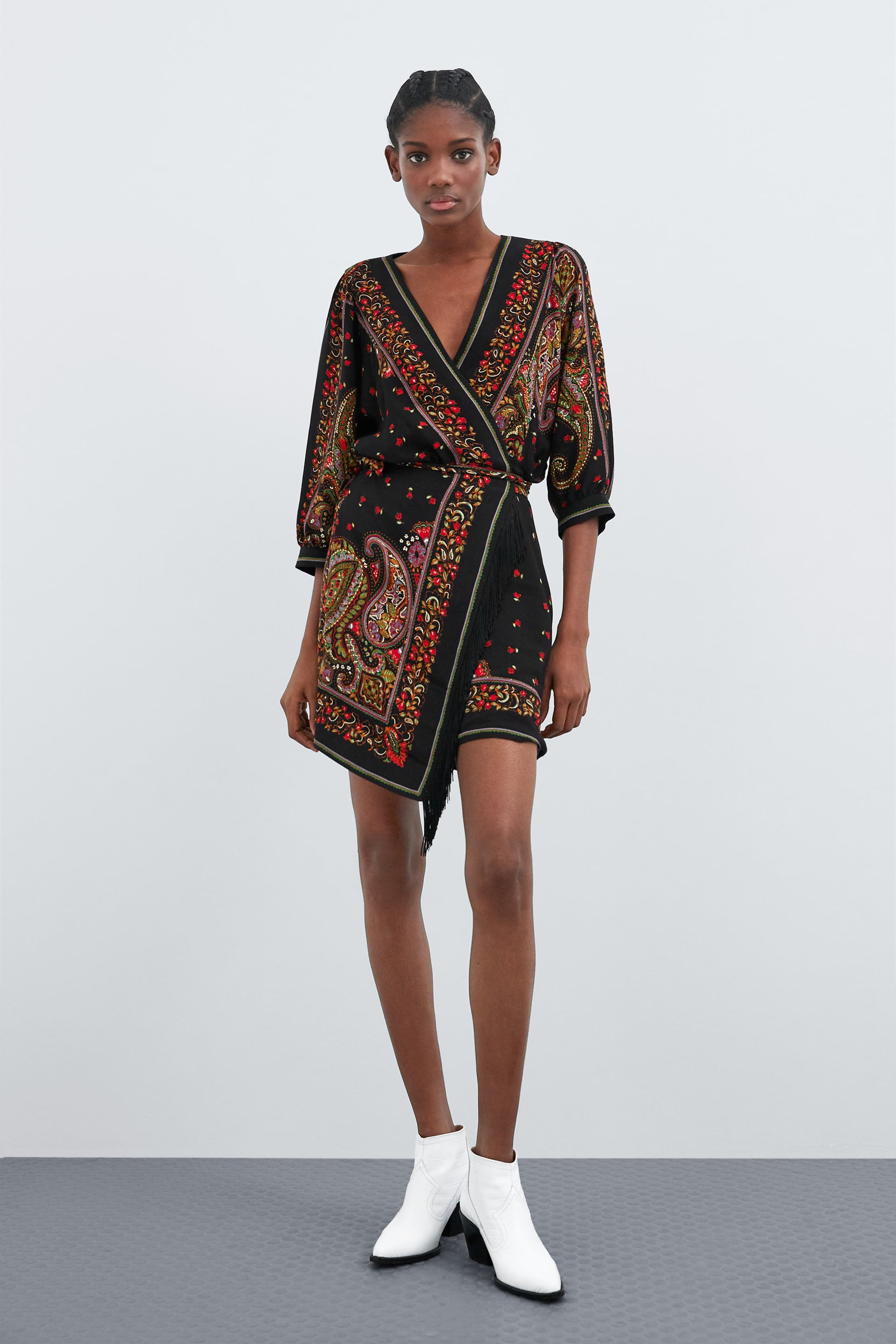 1de0d2a4 PRINTED DRESS WITH FRINGED DETAIL - View all-DRESSES-WOMAN   ZARA ...