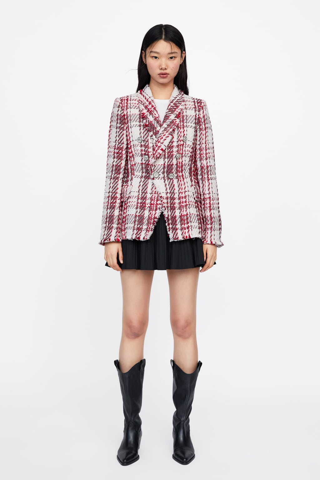 Image 1 of TWEED JACKET WITH GEM BUTTON from Zara