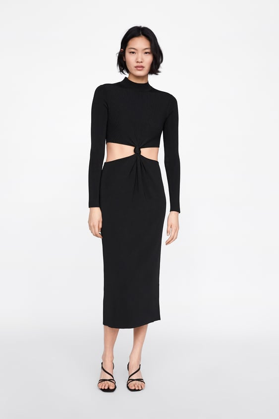 Long Dress With Cut Outs And Knots  View All Knitwear Woman by Zara