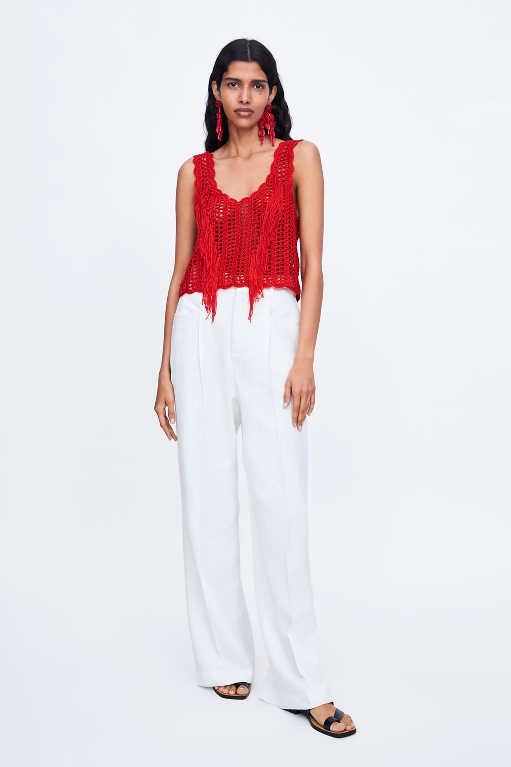 0a295c2b53 FRINGED CROCHETED TOP
