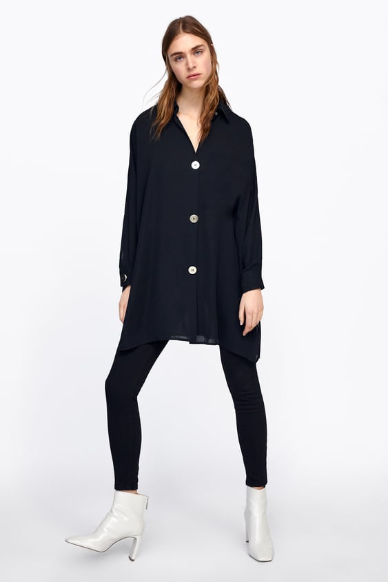 Oversized Shirt With Gold Buttons  View All Shirts by Zara