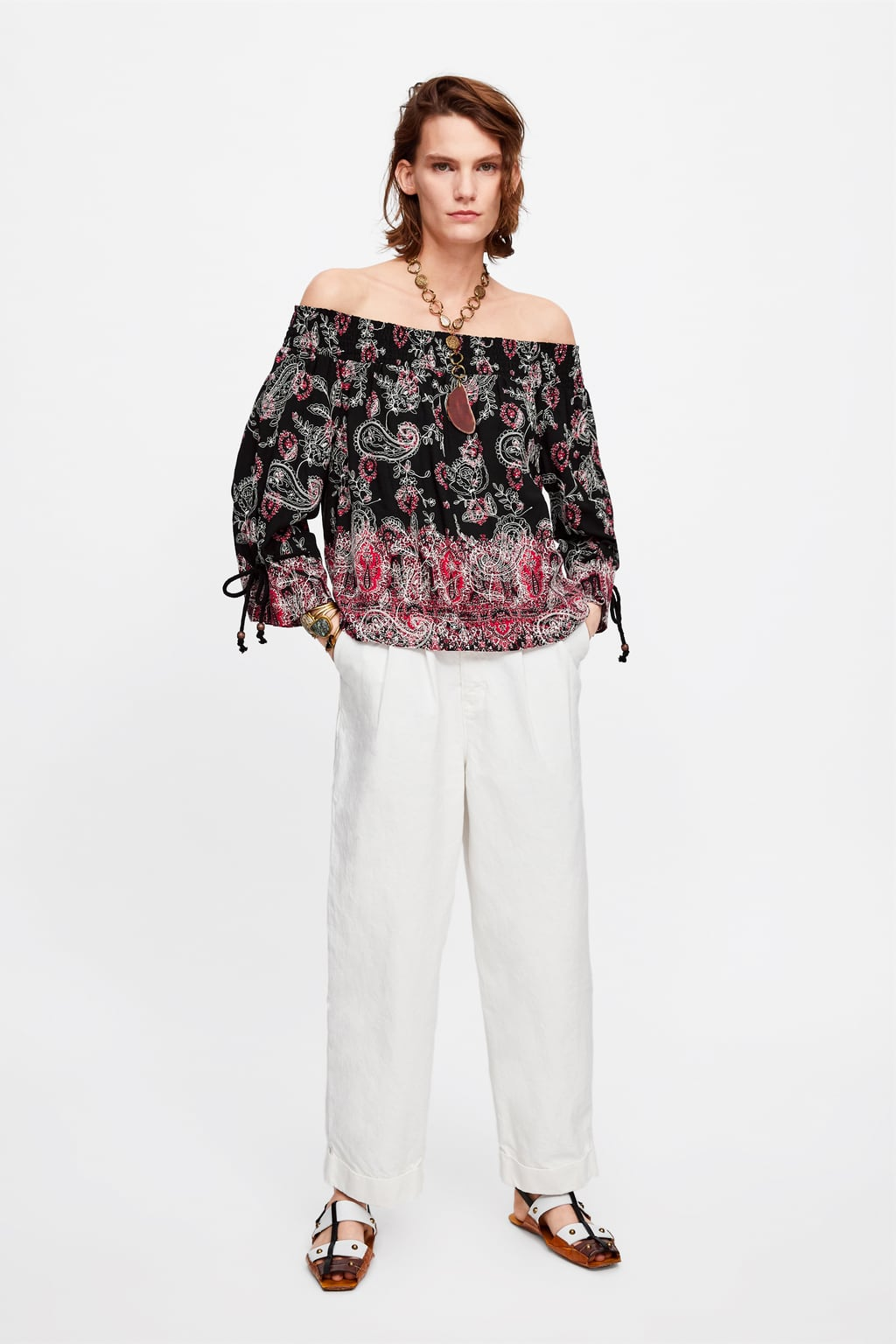 d741a925bb PRINTED EMBROIDERED TOP