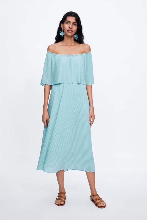 180bbe03 PLEATED DRESS WITH CAPE SLEEVES - View all-DRESSES-WOMAN-SALE | ZARA ...