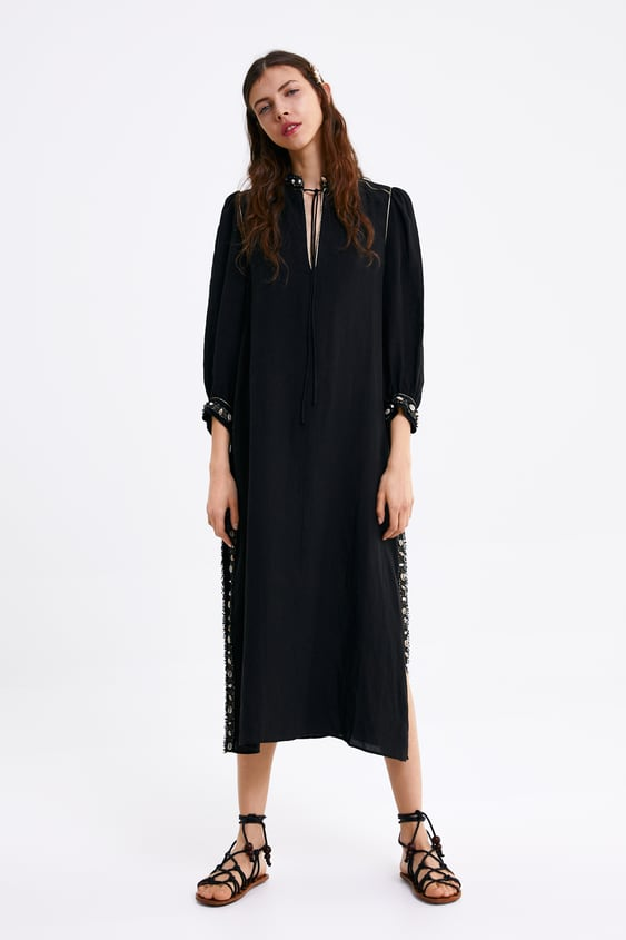 Linen Dress With Shell Trim  View All Dresses Woman by Zara