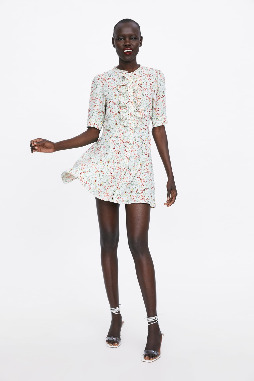 6d8f780bdc9 Image 1 of PRINTED DRESS WITH FRILLS from Zara ...