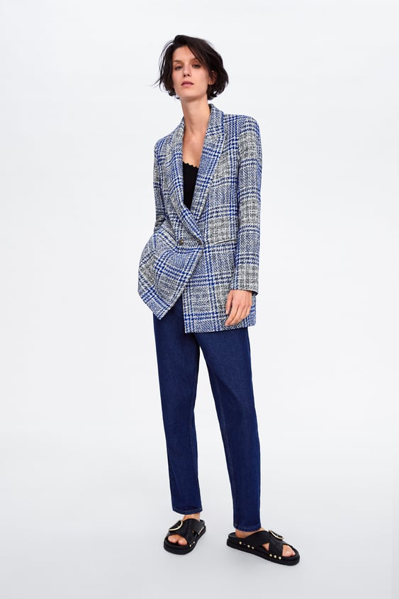 dd0f66a2 CHECK DOUBLE - BREASTED BLAZER-View All-COATS-WOMAN-SALE | ZARA ...