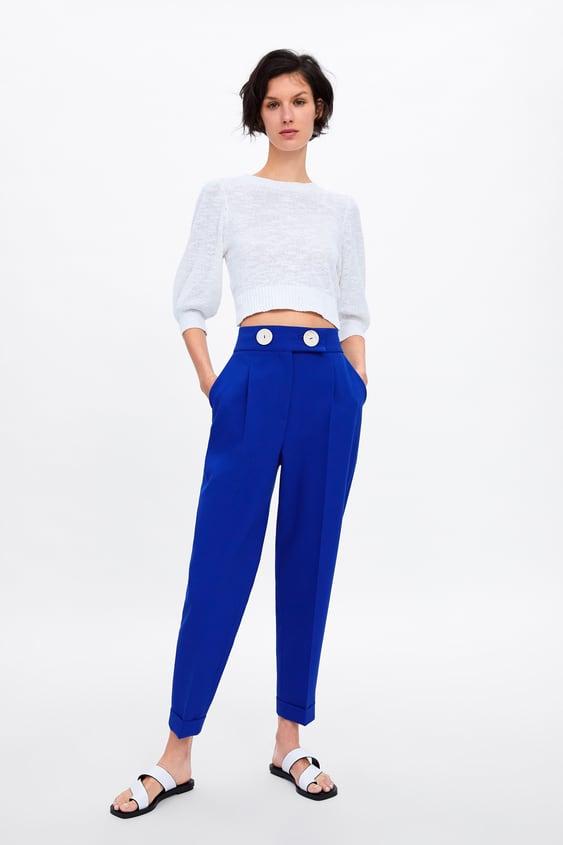 DÜĞmelİ YÜksek Bel Pantolon  Yenİ ÜrÜnlerkadin by Zara