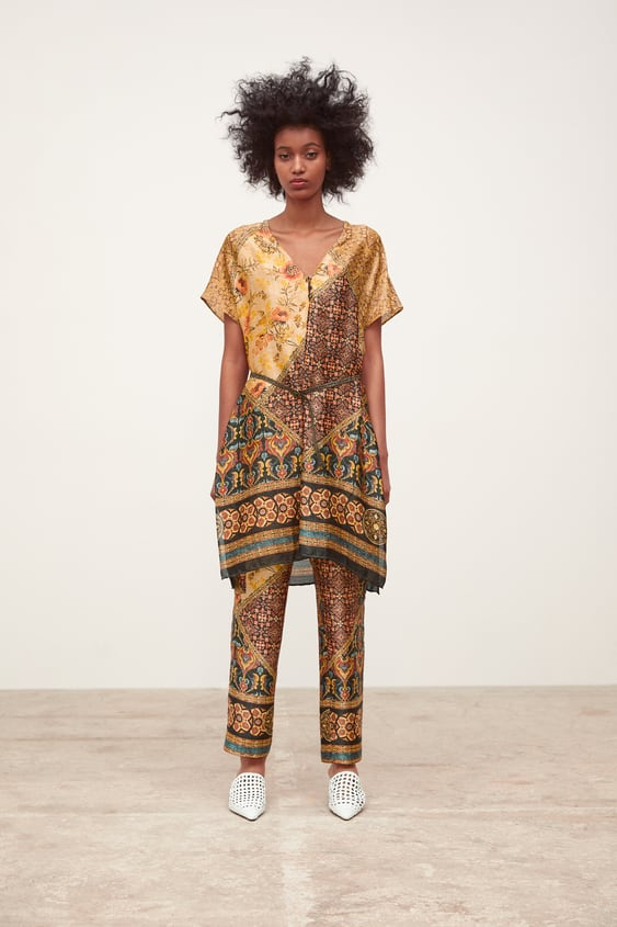 Printed Trousers With Pockets  View All Dresses Woman by Zara