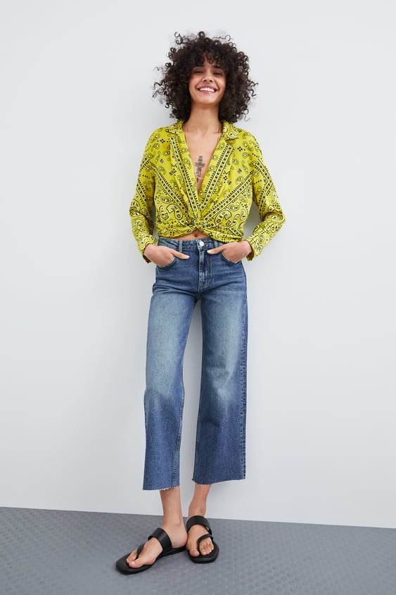 Printed Cropped Shirt  View All Shirts Trf by Zara