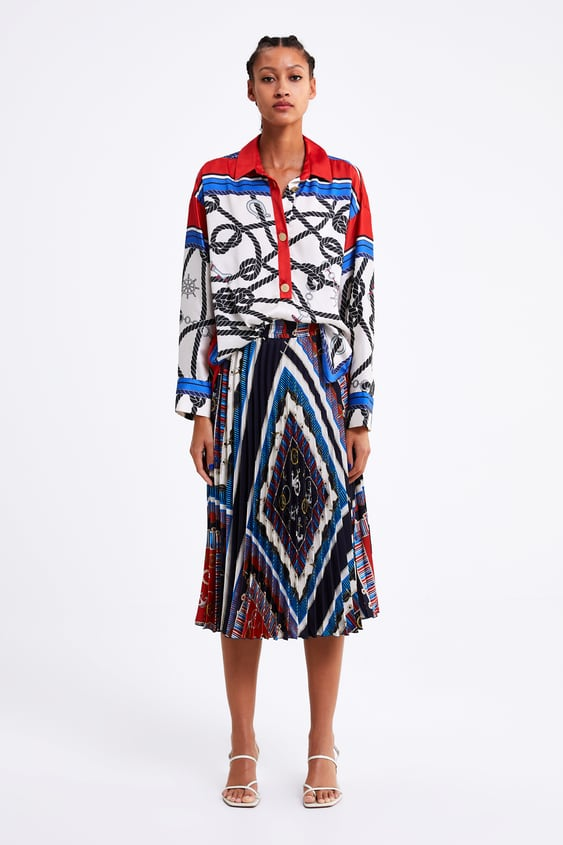Knot Print Pleated Skirt  Coord Sets Woman by Zara