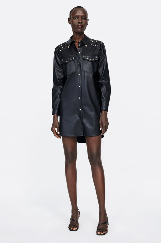 Studded Faux Leather Dress  View All Dresses Woman by Zara
