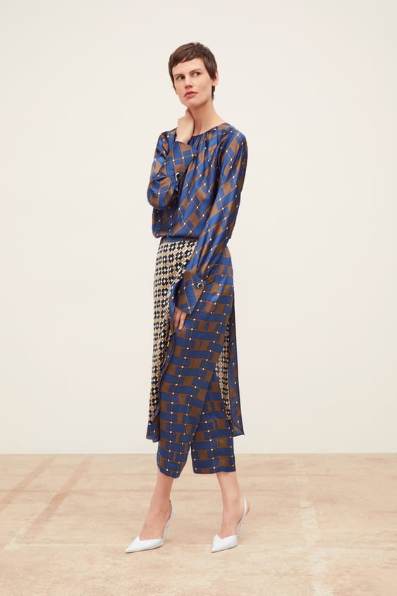 Wrap Style Pants With Contrasting Print  Coord Sets Woman by Zara