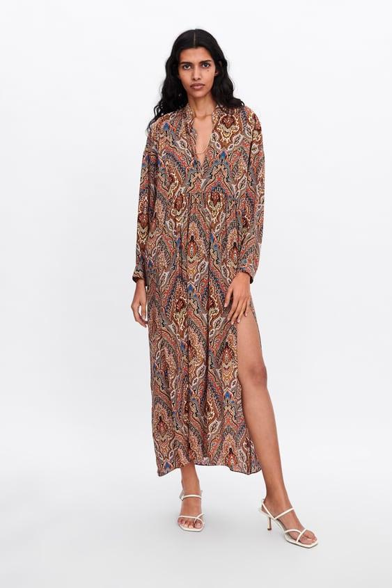 77e1f941 Shoptagr   Printed Flowing Dress Maxi Dresses Woman by Zara
