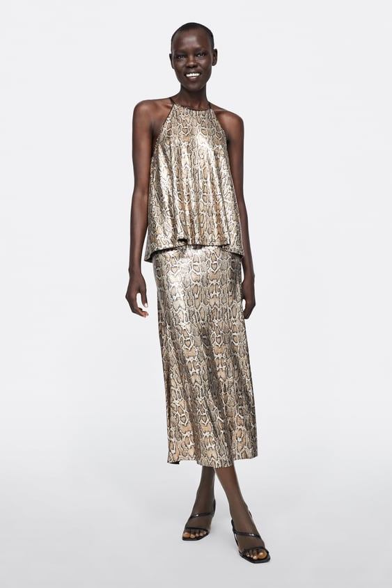 Snakeskin Print Skirt With Sequins  Midi Skirts by Zara