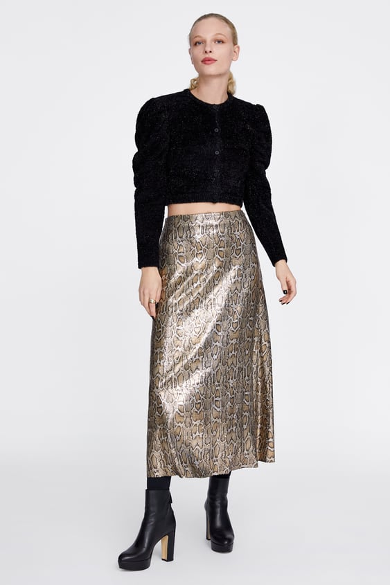 67634e134 SNAKESKIN PRINT SEQUIN SKIRT - SKIRTS-WOMAN-SALE | ZARA United Kingdom