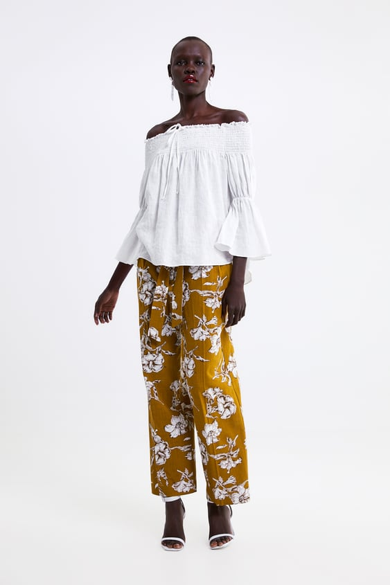 78422493 Shoptagr | Linen Top With Elastic Smocking Blouses Shirts by Zara
