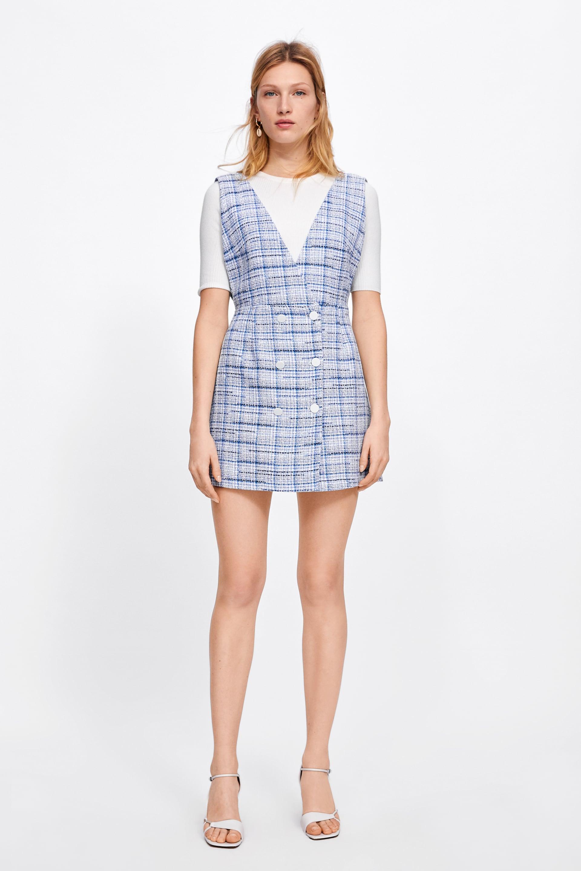 d5d510edce38 CHECKED PINAFORE DRESS - Mini-DRESSES-WOMAN | ZARA Georgia
