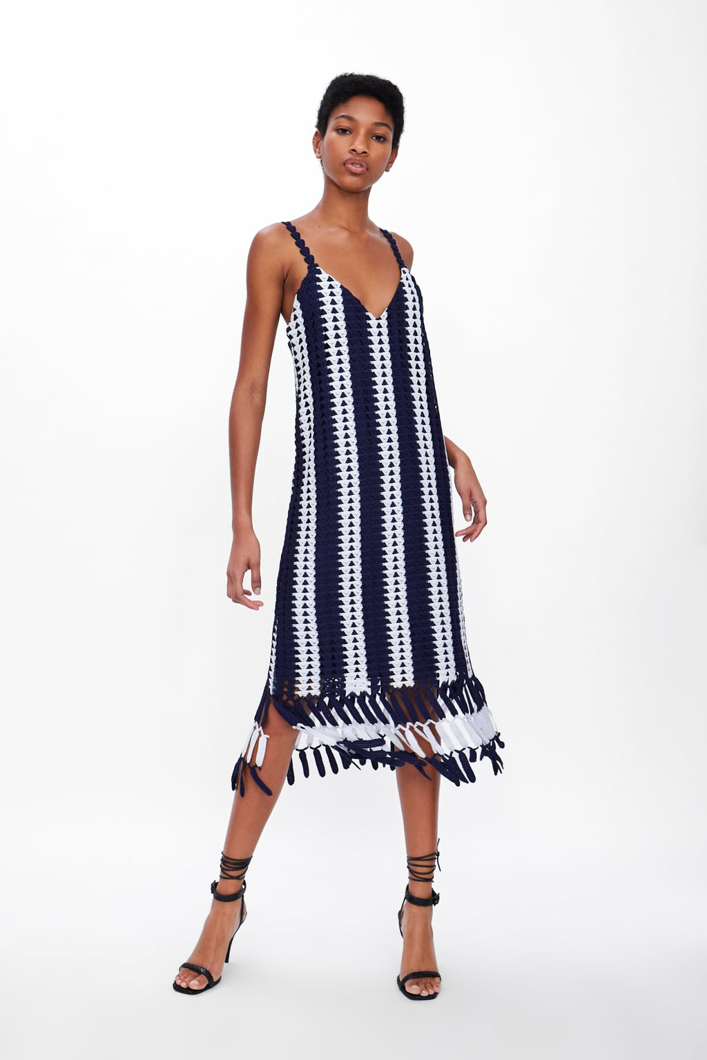 Image 1 of STRIPED CROCHETED DRESS from Zara