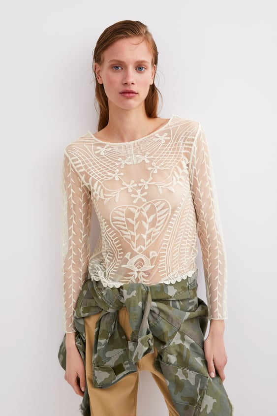 9799c4113fd2 EMBROIDERED SEMI-SHEER T-SHIRT
