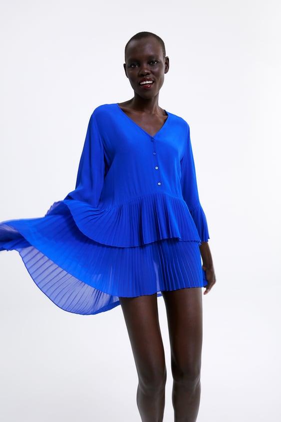 a8ef975e CONTRASTING PLEATED BLOUSE - Mini-DRESSES-WOMAN-SALE | ZARA United ...