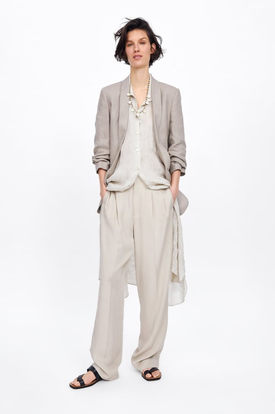 515c7940 Shoptagr | Linen Blazer With Pockets Última Semanamulher by Zara