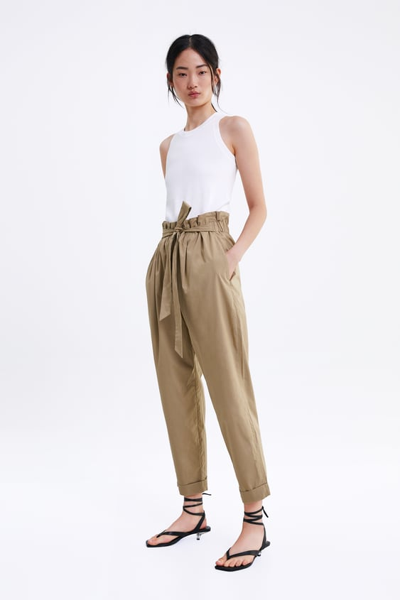 Poplin Bow Trousers  View All Trousers Woman by Zara