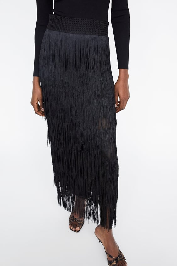 3aa8cb1357 SKIRT WITH MATCHING FRINGING - Evening-DRESS TIME-WOMAN-CORNER SHOPS ...