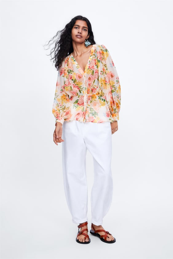 Floral Print Blouse View All Shirts by Zara