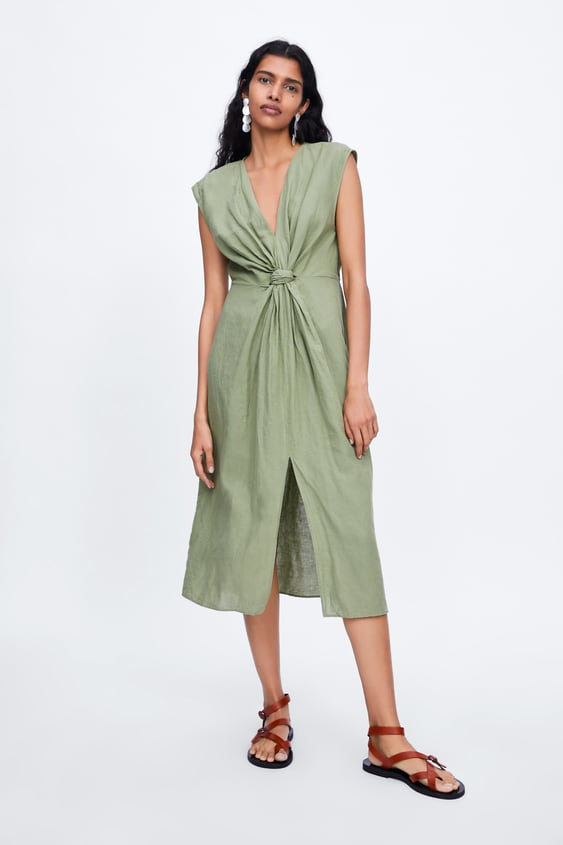 e1f43f9af2 MIDI DRESS WITH FRONT KNOT