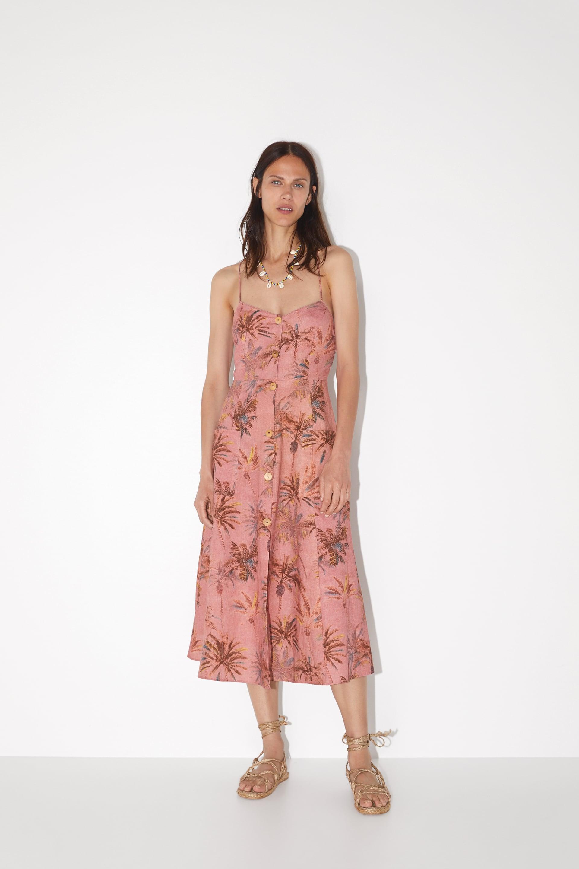 Image 1 of PALM TREE PRINT DRESS from Zara