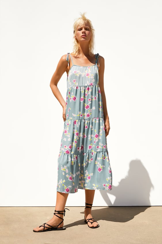 Floral Satin Dress  Best Sellerstrf by Zara