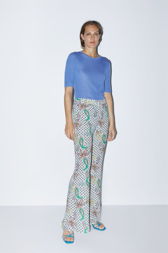 4eec98afc92b1b PRINTED FLARED PANTS - Palazzo-PANTS-WOMAN-SALE | ZARA United States