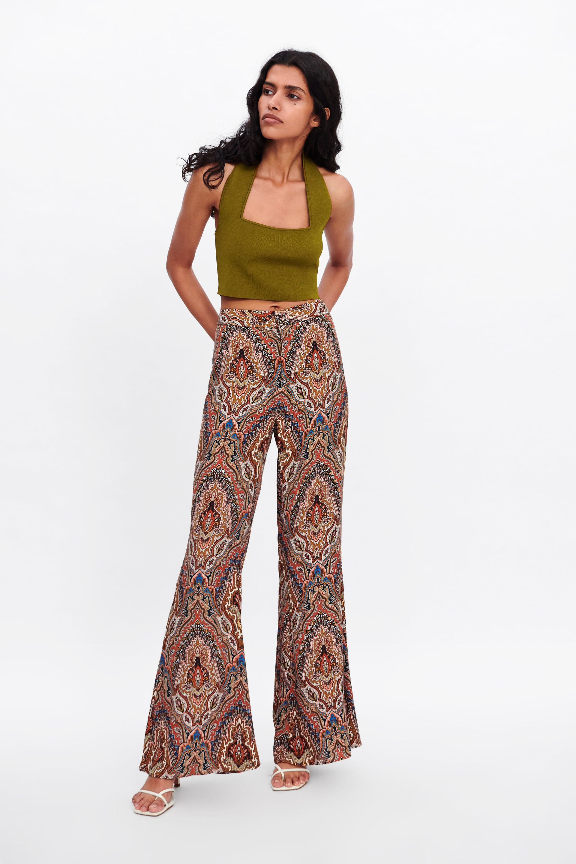 Image 1 of PRINTED FLARED TROUSERS from Zara