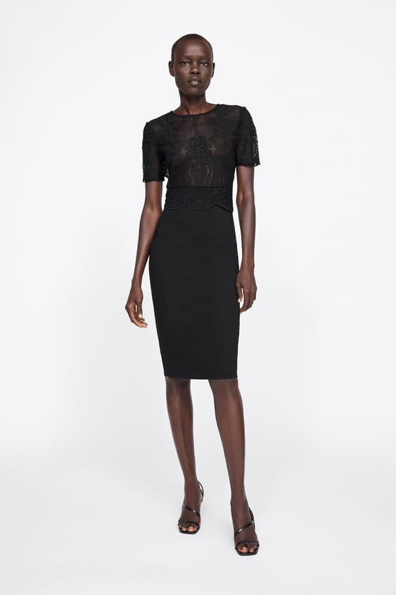 Vestido Combinado De Renda Ver Tudo Vestidos Mulher by Zara